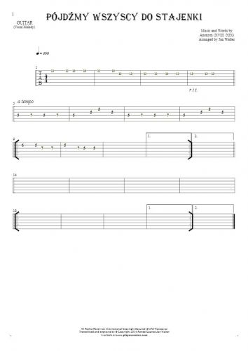 Pójdźmy wszyscy do stajenki - Tablature for guitar - melody line
