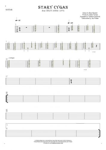 The old Gipsy - Tablature (rhythm values) for guitar