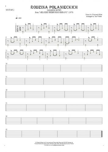 Rodzina Połanieckich - Tablature (rhythm. values) for guitar - guitar 2 part
