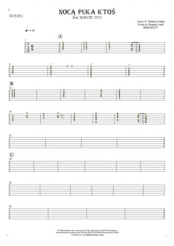 Somebody's Knocking At The Door At Nigh - Tablature for guitar - guitar 2 part