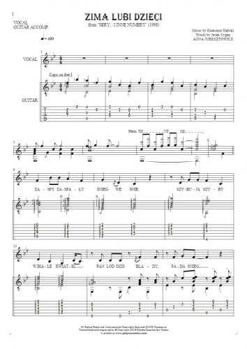 Zima lubi dzieci - Notes, tablature and lyrics for vocal with guitar accompaniment