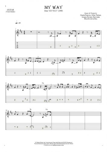 My Way - Notes and tablature for guitar - melody line