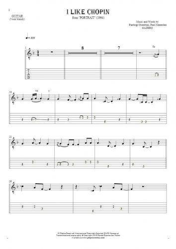 I Like Chopin - Notes and tablature for guitar - melody line