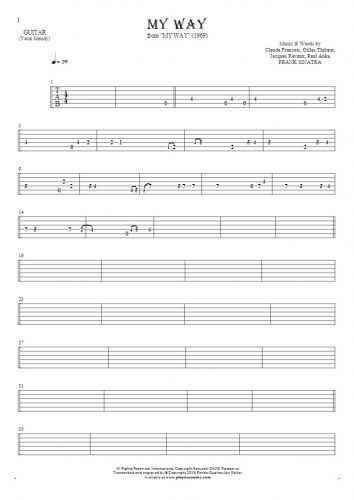 My Way - Tablature for guitar - melody line