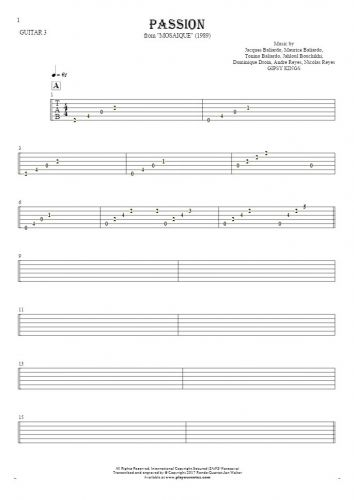 Passion - Tablature for guitar - guitar 3 part