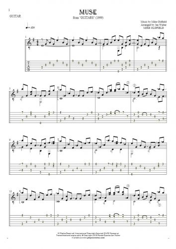 Muse - Notes and tablature for guitar solo (fingerstyle)