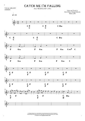 Catch Me I'm Falling - Notes and chords for solo voice with accompaniment