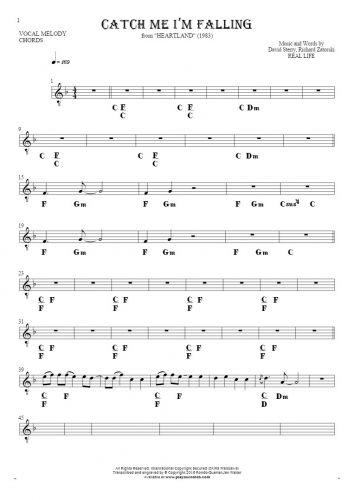 Catch Me I'm Falling - Noten und Akkorde für Solo Stimme mit Begleitung