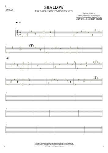 Shallow - Tablature for guitar