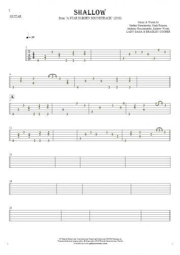 Shallow - Tabulatur für Gitarre