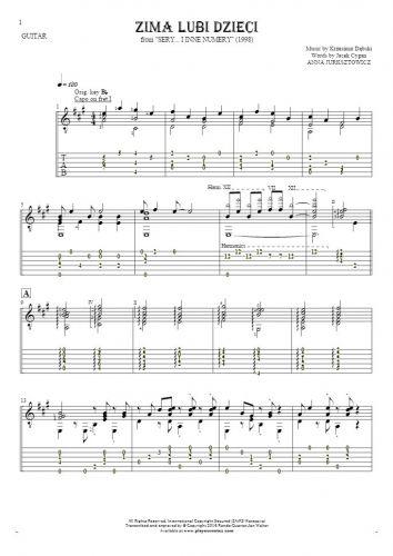 Zima lubi dzieci - Noten (in Transposition) und Tabulatur für Gitarre - Begleitung