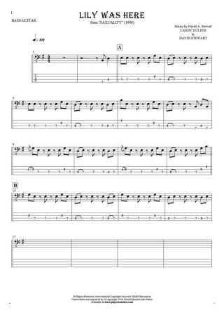 Lily Was Here - Notes and tablature for bass guitar