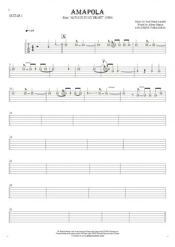 Amapola - Tablature (rhythm. values) for guitar - guitar 1 part