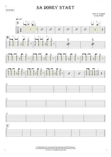 For a good start - Tablature (rhythm. values) for guitar - guitar 2 part
