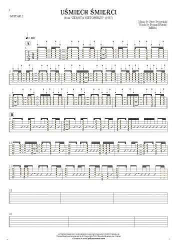 Smile of Death - Tablature (rhythm values) for guitar - guitar 2 part