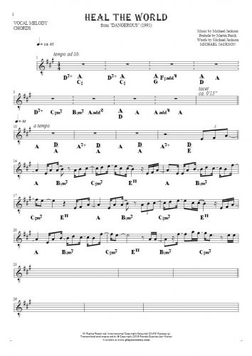Heal The World - Notes and chords for solo voice with accompaniment