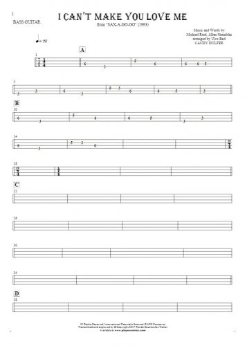 I Can't Make You Love Me - Tablature for bass guitar