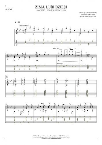 Zima lubi dzieci - Notes and tablature for guitar - accompaniment