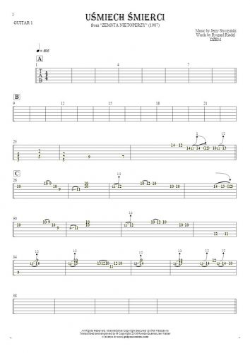 Smile of Death - Tablature for guitar - guitar 1 part