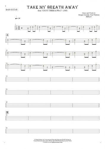 Take My Breath Away - Tablature (rhythm. values) for bass guitar