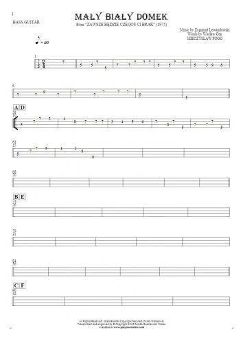 Mały biały domek - Tablature for bass guitar