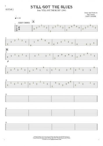 Still Got The Blues - Tablature for guitar - guitar 2 part