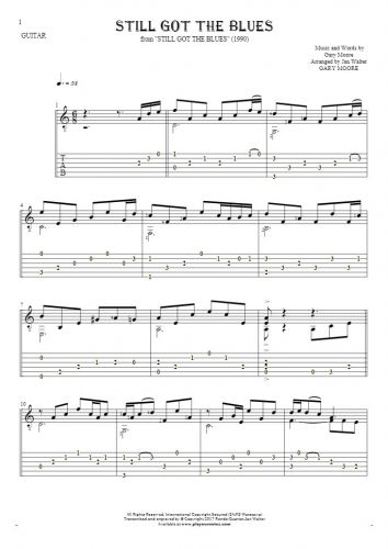 Still Got The Blues - Notes and tablature for guitar solo (fingerstyle)