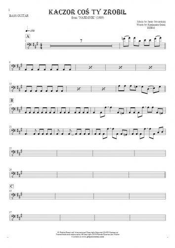 Kaczor coś ty zrobił - Notes for bass guitar