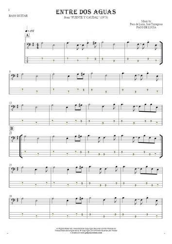 Entre dos aguas - Nuty i tabulatura na gitarę basową