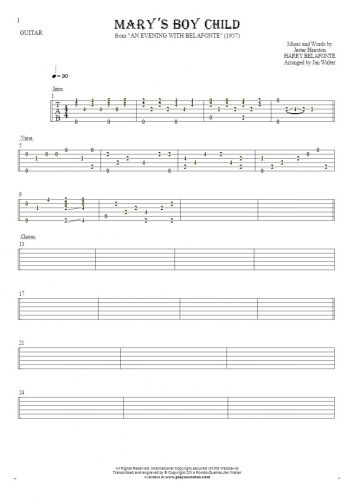 Mary's Boy Child - Tablature for guitar solo (fingerstyle)