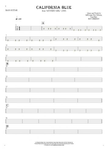 California Blue - Tablature for bass guitar