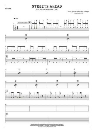 Streets Ahead - Tablature (rhythm values) for guitar