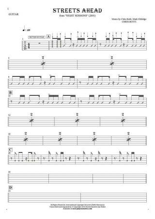 Streets Ahead - Tabulatur (Rhythm Werte) für Gitarre