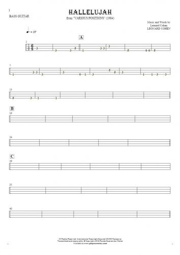 Hallelujah - Tablature for bass guitar