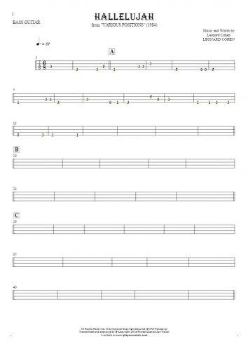 Hallelujah - Tabulatur für Bassgitarre