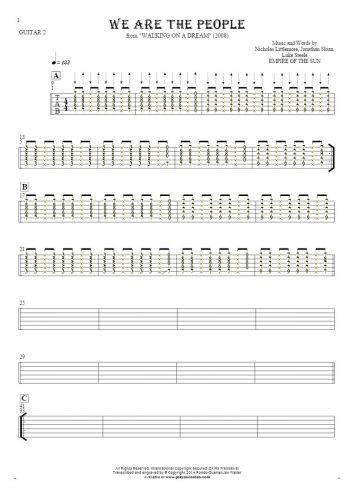 We Are the People - Tablature (rhythm values) for guitar - guitar 2 part