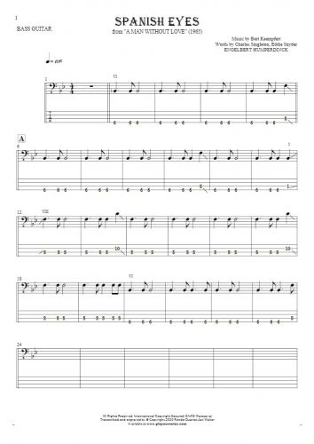 Spanish Eyes - Notes and tablature for bass guitar