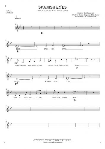 Spanish Eyes - Notes, lyrics and chords for vocal with accompaniment