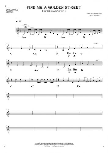 Find Me A Golden Street - Notes and chords for solo voice with accompaniment