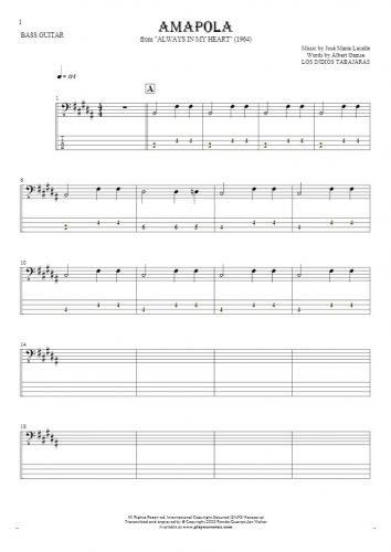 Amapola - Notes and tablature for bass guitar