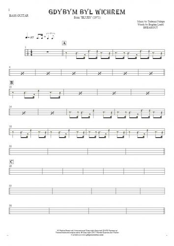 If I Were the Wind - Tablature (rhythm. values) for bass guitar