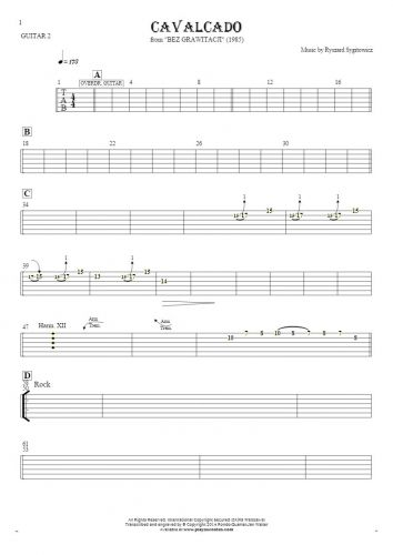 Cavalcado - Tablature for guitar - guitar 2 part