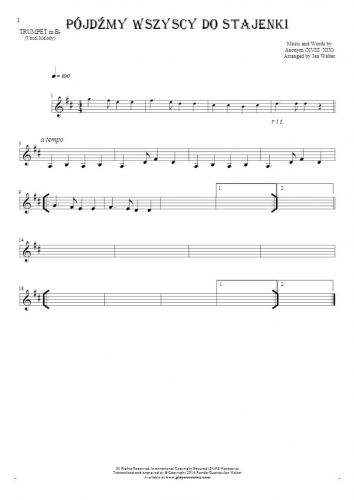 Pójdźmy wszyscy do stajenki - Notes for trumpet - melody line