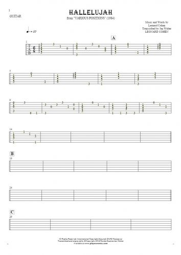 Hallelujah - Tablature for guitar - accompaniment