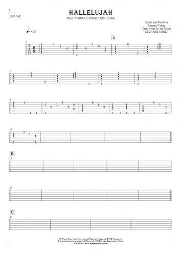 Hallelujah - Tabulatur für Gitarre - Begleitung