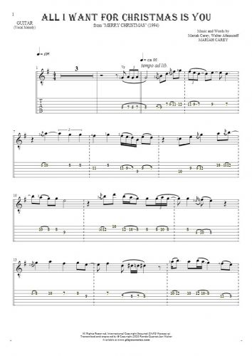 All I Want For Christmas Is You - Notes and tablature for guitar - melody line