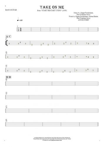 Take On Me - Tablature for bass guitar