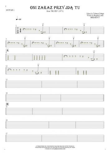 They'll be here any minute - Tablature for guitar - guitar 1 part