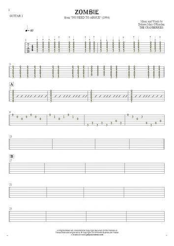 Zombie - Tablature for guitar - guitar 1 part
