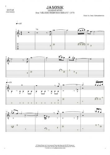 Janosik - Leading Motif - Notes and tablature for guitar - melody line